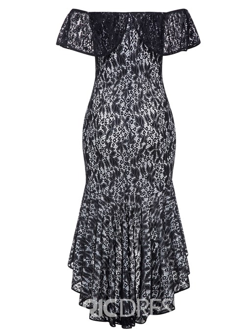 Ericdress Plus Size Hollow Asymmetrical Lace Maxi Dress