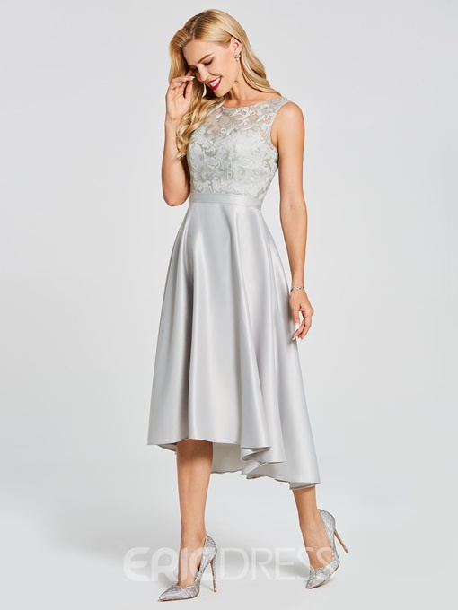 Ericdress Scoop High Low A Line Lace Bridesmaid Dress