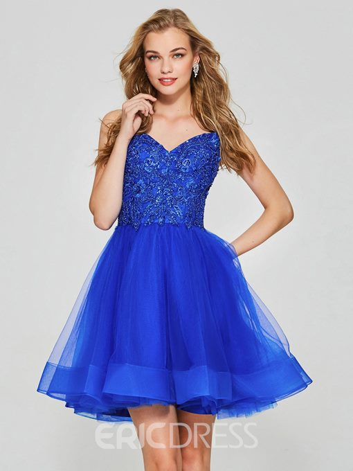 Ericdress A Line Spaghetti Straps Beaded Short Homecoming Dress