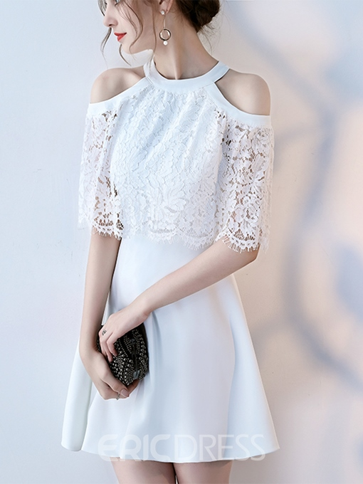 Ericdress A Line Jewel Neck Half Sleeve Lace Short Homecoming Dress