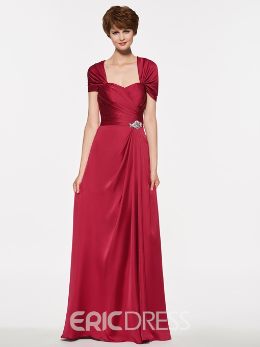 Ericdress A Line Cap Sleeves Long Mother Of The Bride Dress