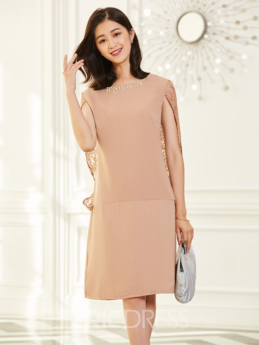 Ericdress Round Neck With Diamonds Decorated Day Dress