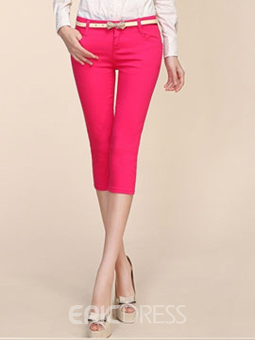 Ericdress Slim Mid-Waist Mid-Calf Women's Pencil Pants