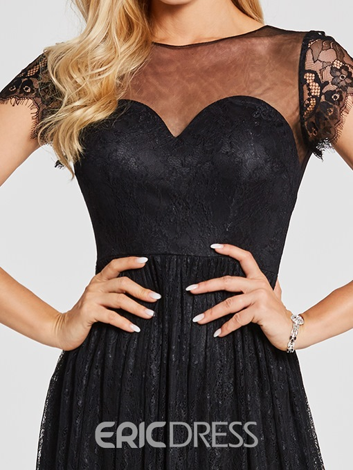Ericdress Scoop Neck Bacless Lace A Line Evening Dress
