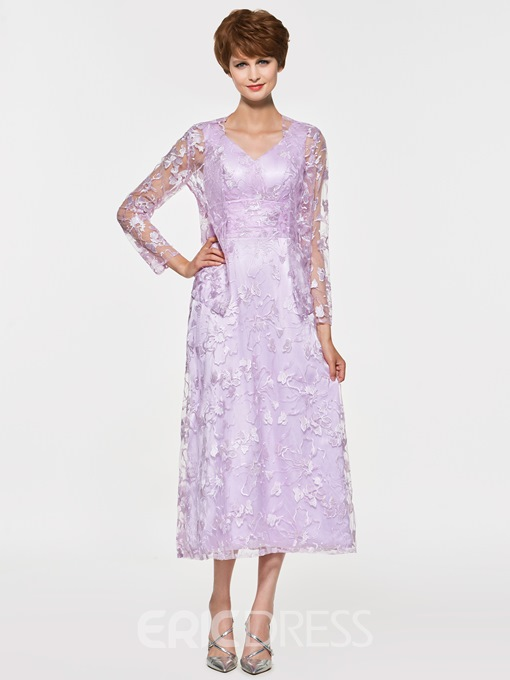 Ericdress Lace Tea Length Mother Of The Bride Dress with Jacket