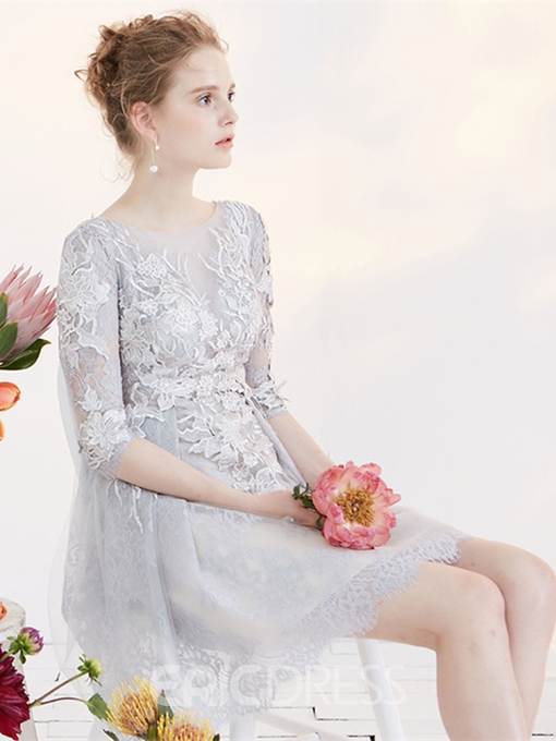 Ericdress A Line Half Sleeve Applique Lace Homecoming Dress