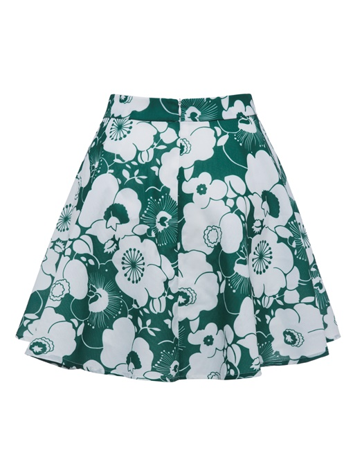 Color Block Flower Print Women's Mini Skirt