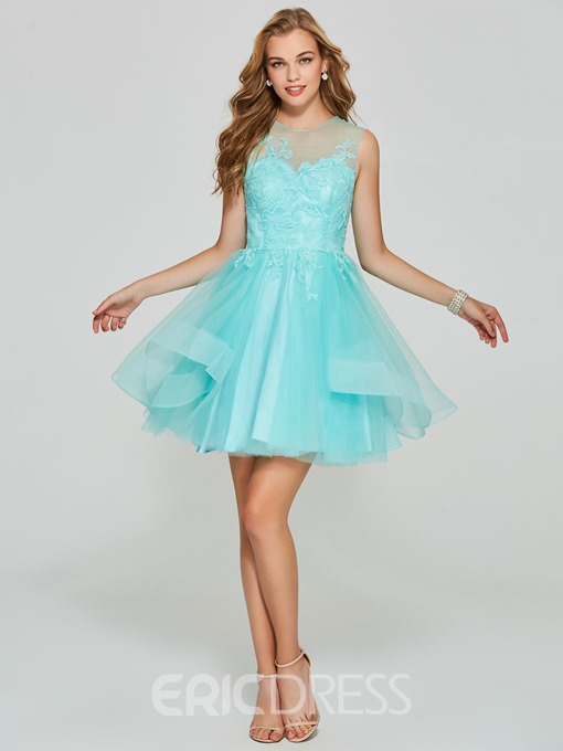 Ericdress A Line Short Tulle Applique Homecoming Dress