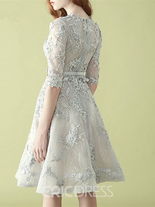 Ericdress A Line Applique Lace Knee Length Homecoming Dress With Half Sleeve