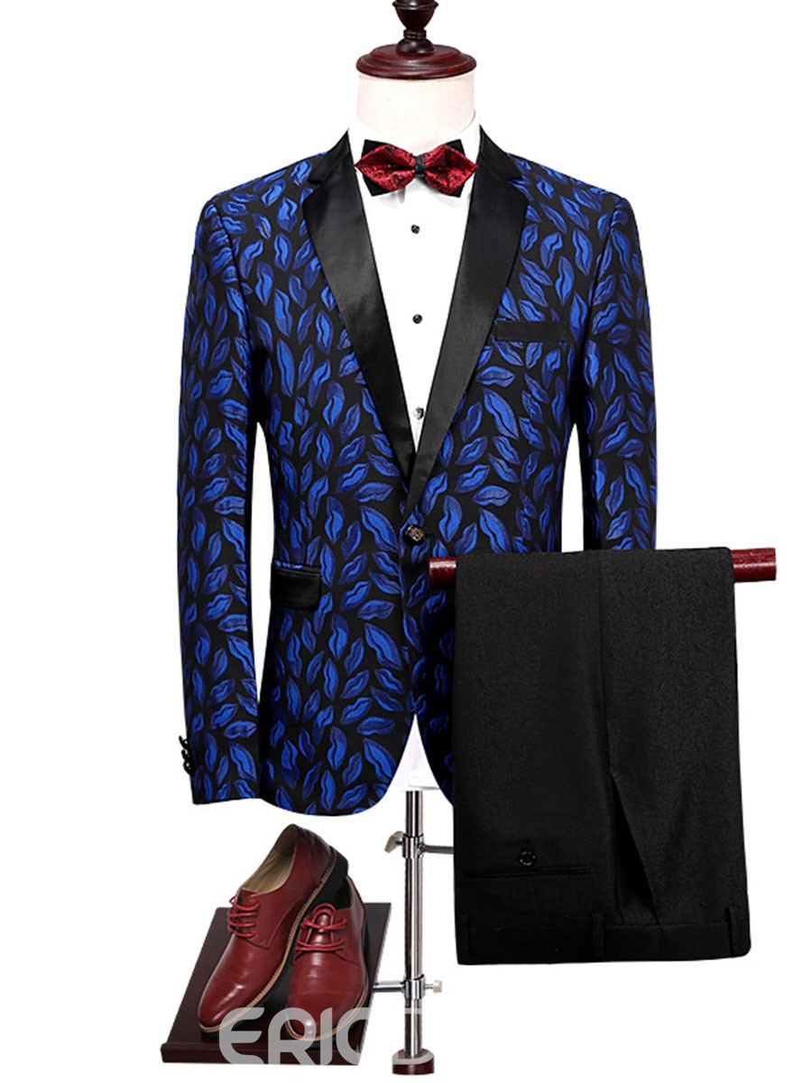 Ericdress Lapel Print Color Block Men's Suit