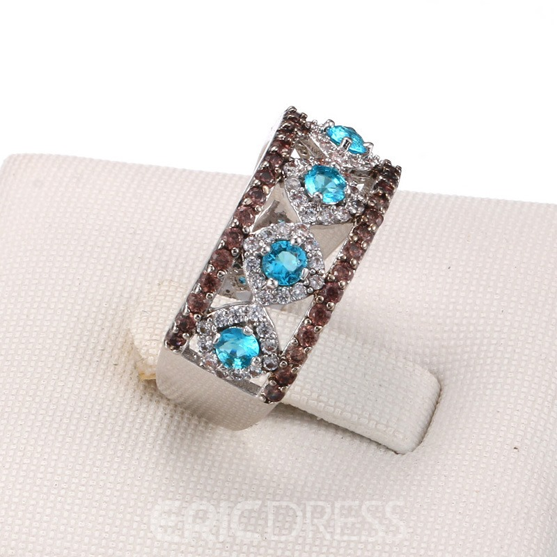 Ericdress Exquisite Blue Sapphire Hollow Out Women's Wedding Ring