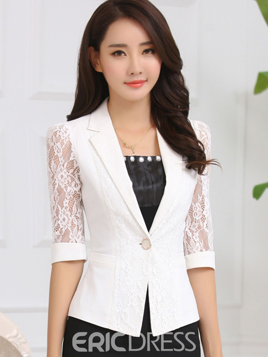 Ericdress See-Through One Button Half Sleeve Blazer