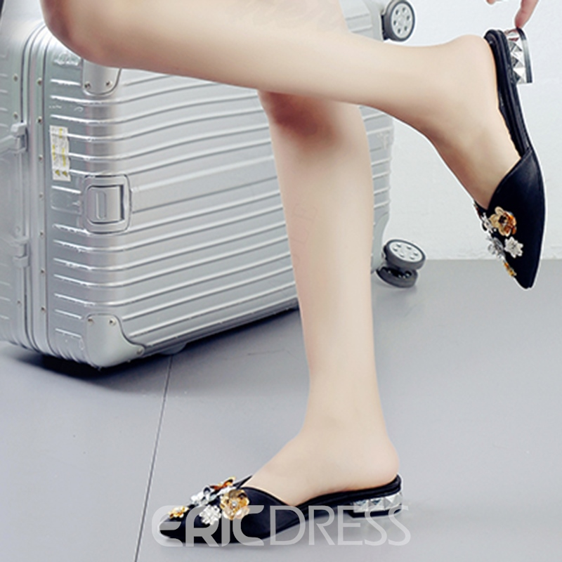 Ericdress Rhinestone Slip-On Plain Women's Mules Shoes