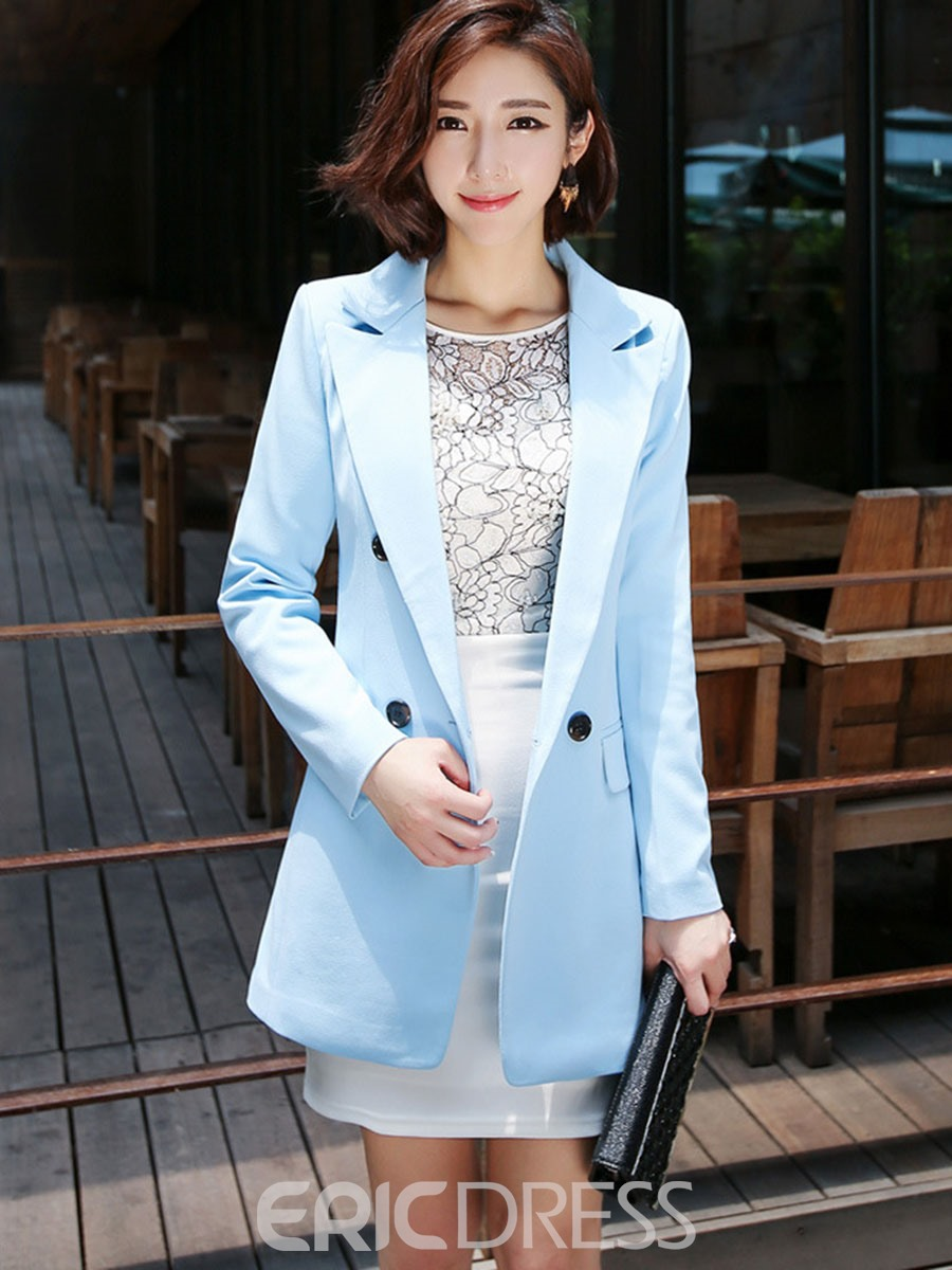 Ericdress Plain Double-Breasted Mid-Length Blazer