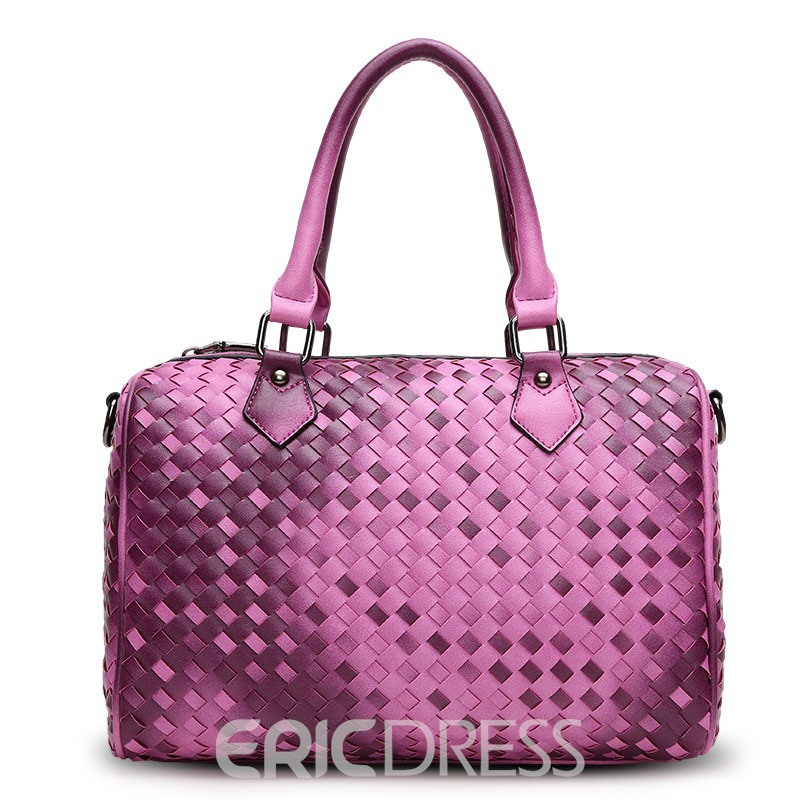 Ericdress Solid Color Knitted Pattern Handbag