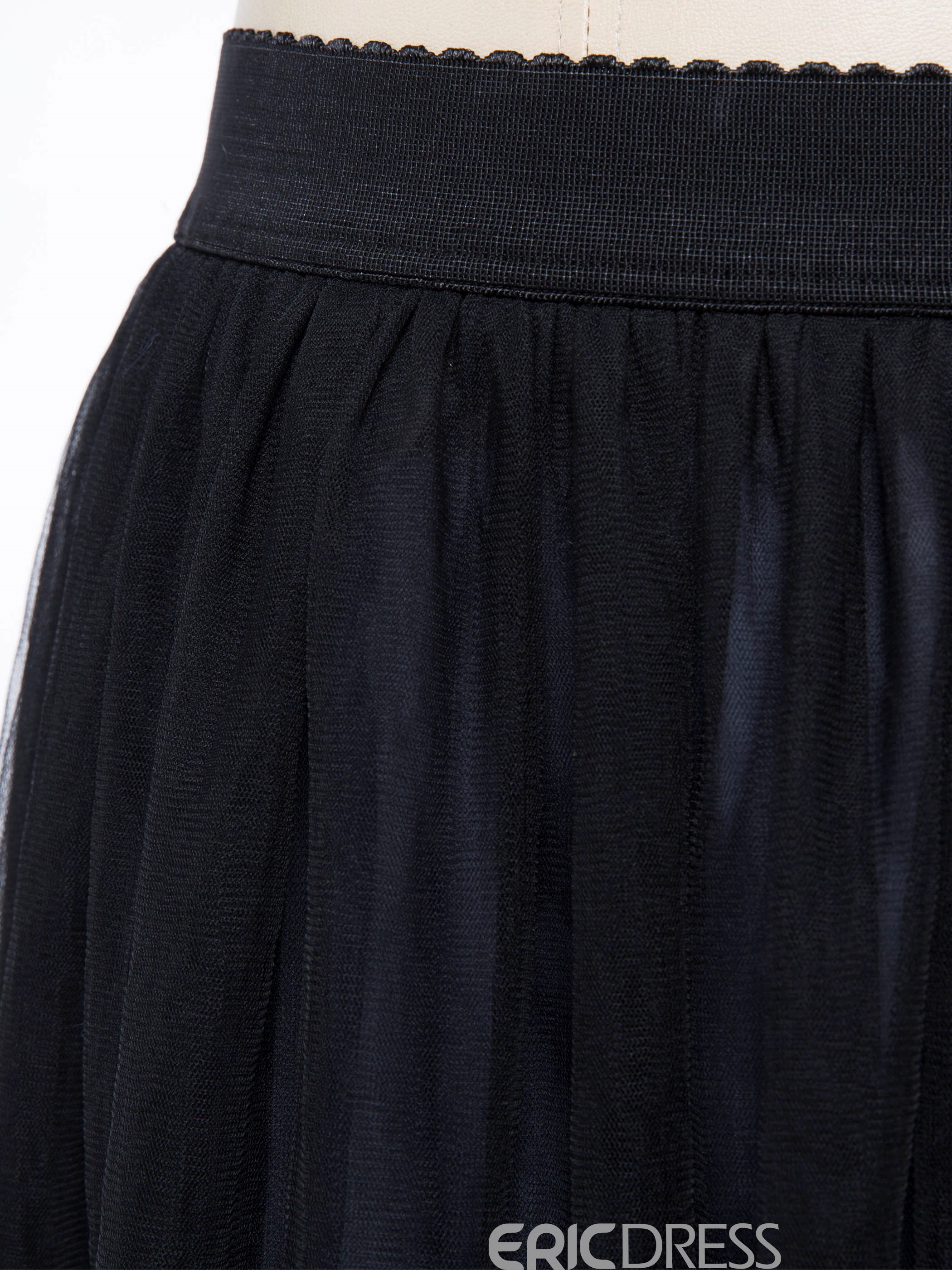 Mesh Pleated Plain Ankle-Length Usual Skirts