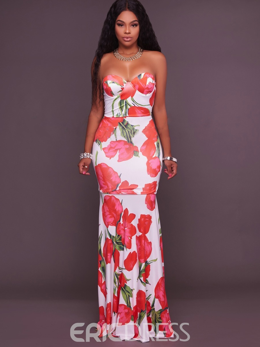 Ericdress Strapless Print Mermaid Maxi Dress