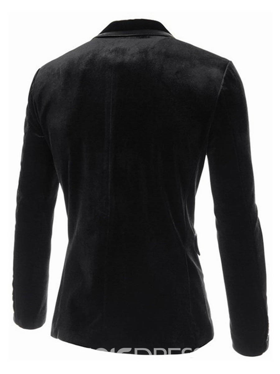Ericdress Plain Corduroy Single-Breasted Slim Men's Blazer