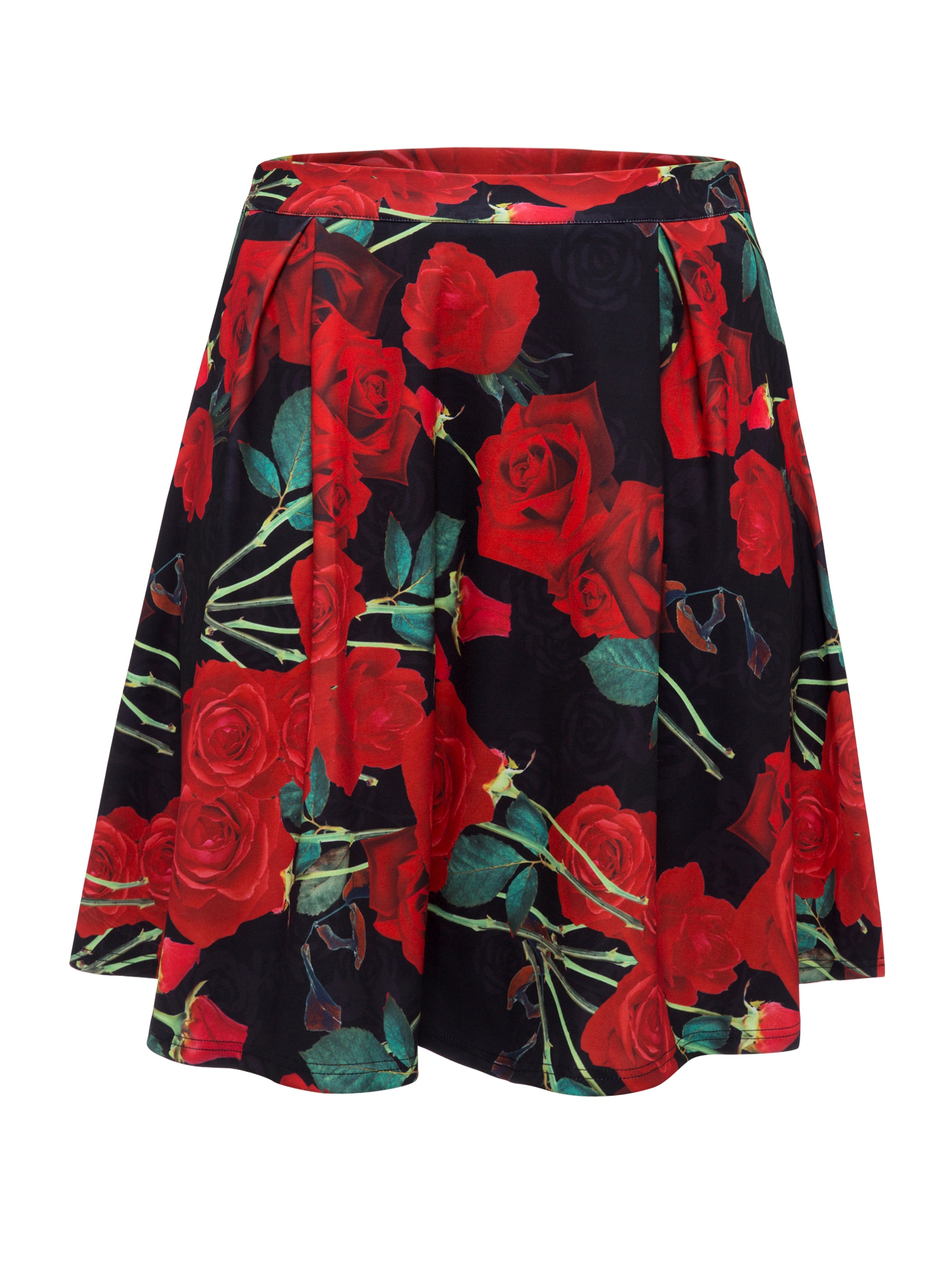 Floral Print Knee-Length Usual Skirts