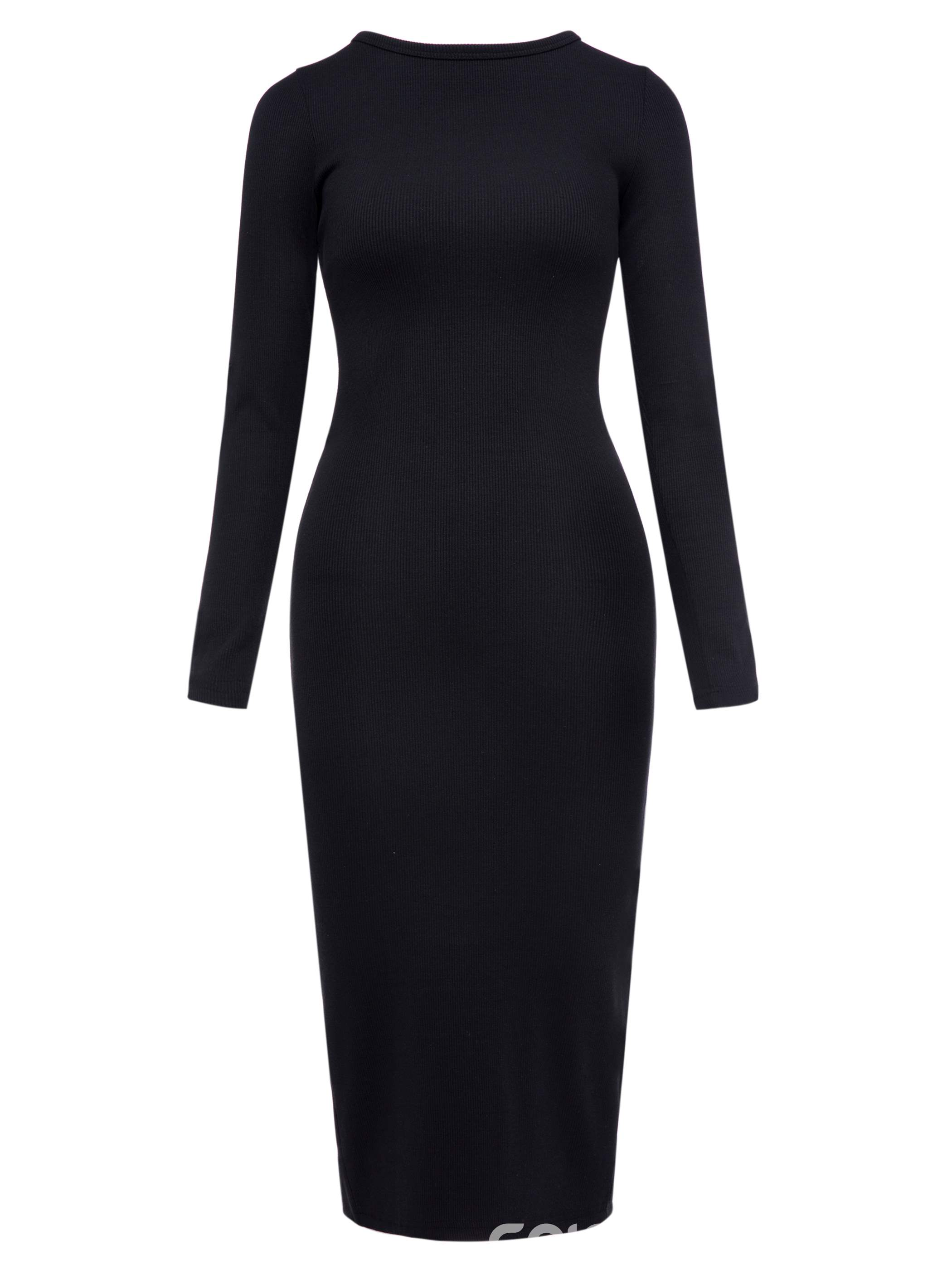 Ericdress Plain Zipper Backless Bodycon Dress