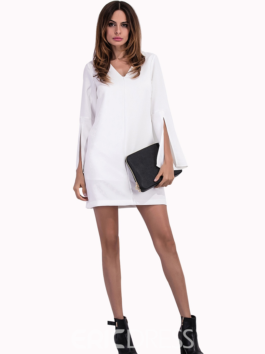 Ericdress V-Neck Bell Sleeve Plain Bodycon Dress