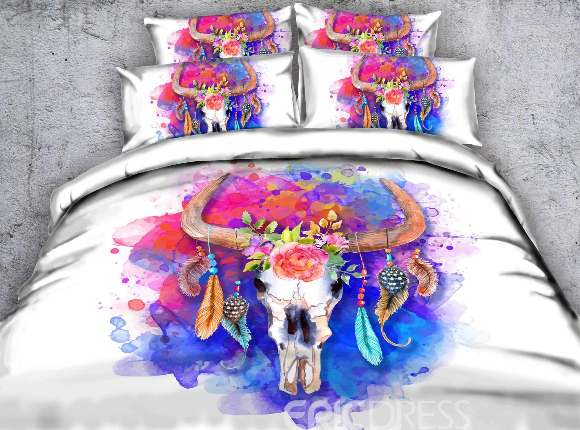 3D Goat Head Skull Printed Cotton 4-Piece White Bedding Sets/Duvet Covers