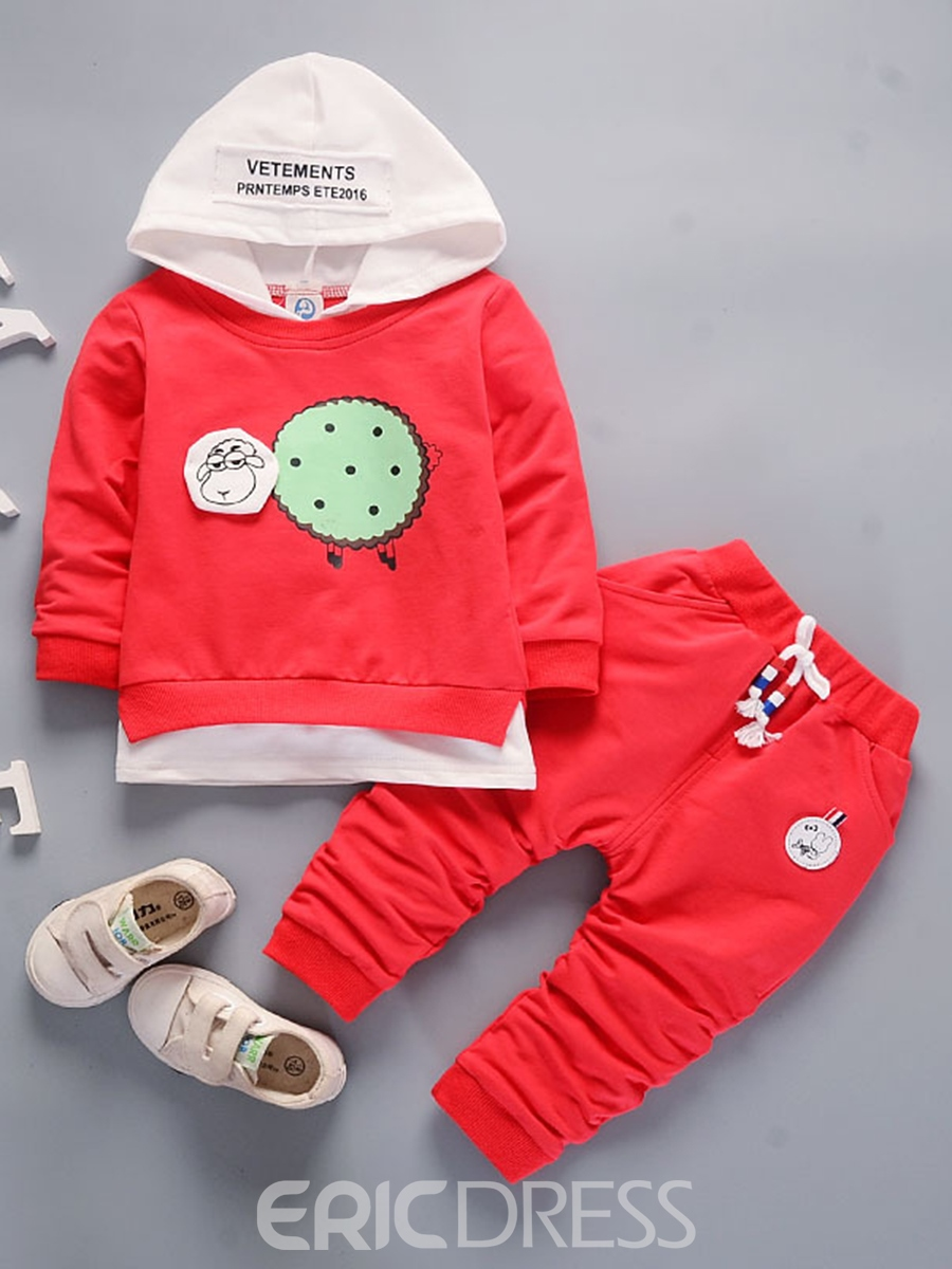 Ericdress Unisex Sheep Print Hoodie And Pant Baby Boys And Girls Outfit