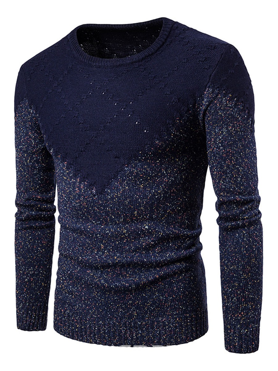 Ericdress Color Block Round Neck Pullover Men's Sweater