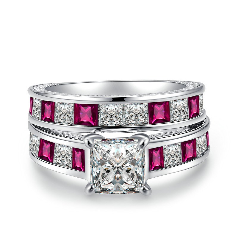 Ericdress Luxurious Princess Cut Red Sapphire Engagement Ring