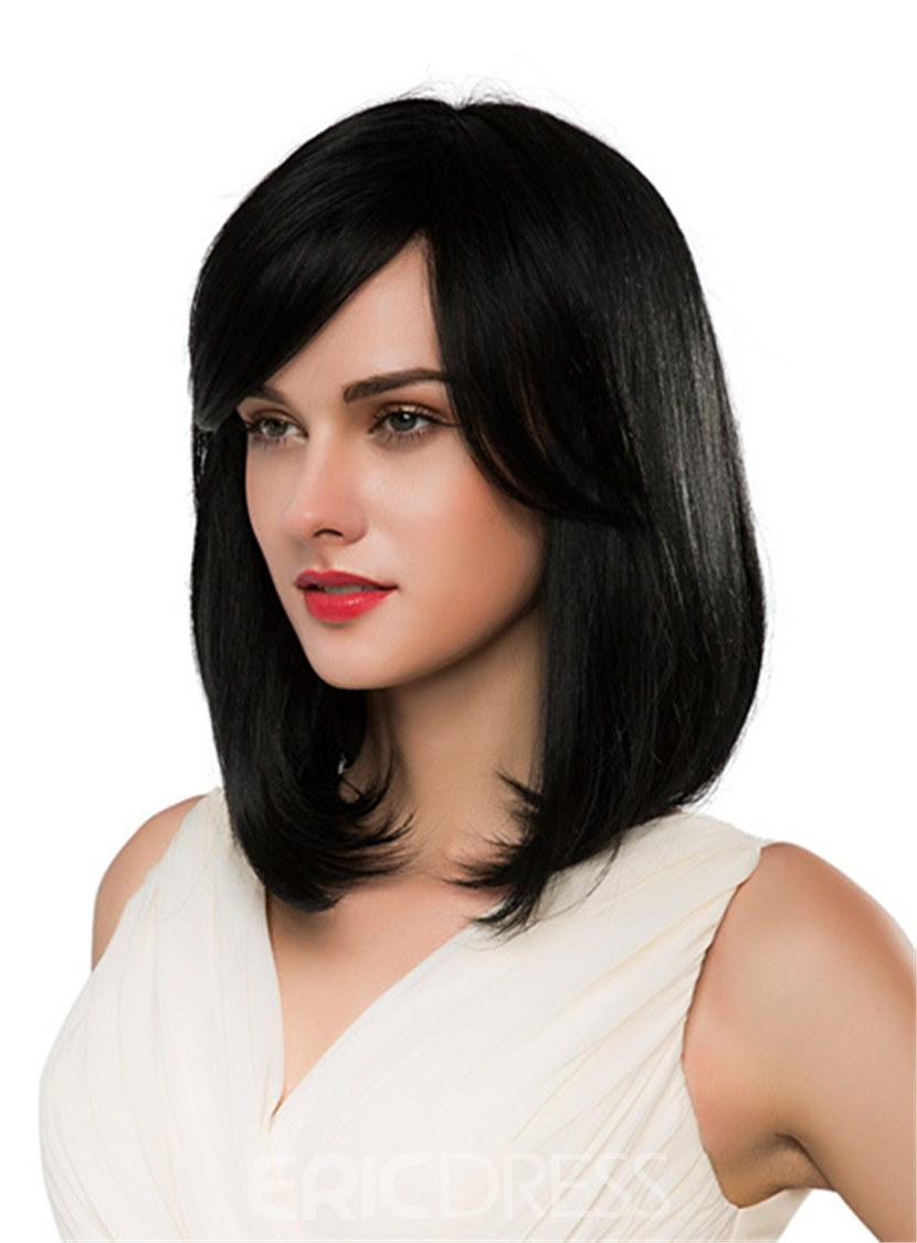Ericdress Medium Straight With Bangs Human Hair Capless Wig 16 Inches