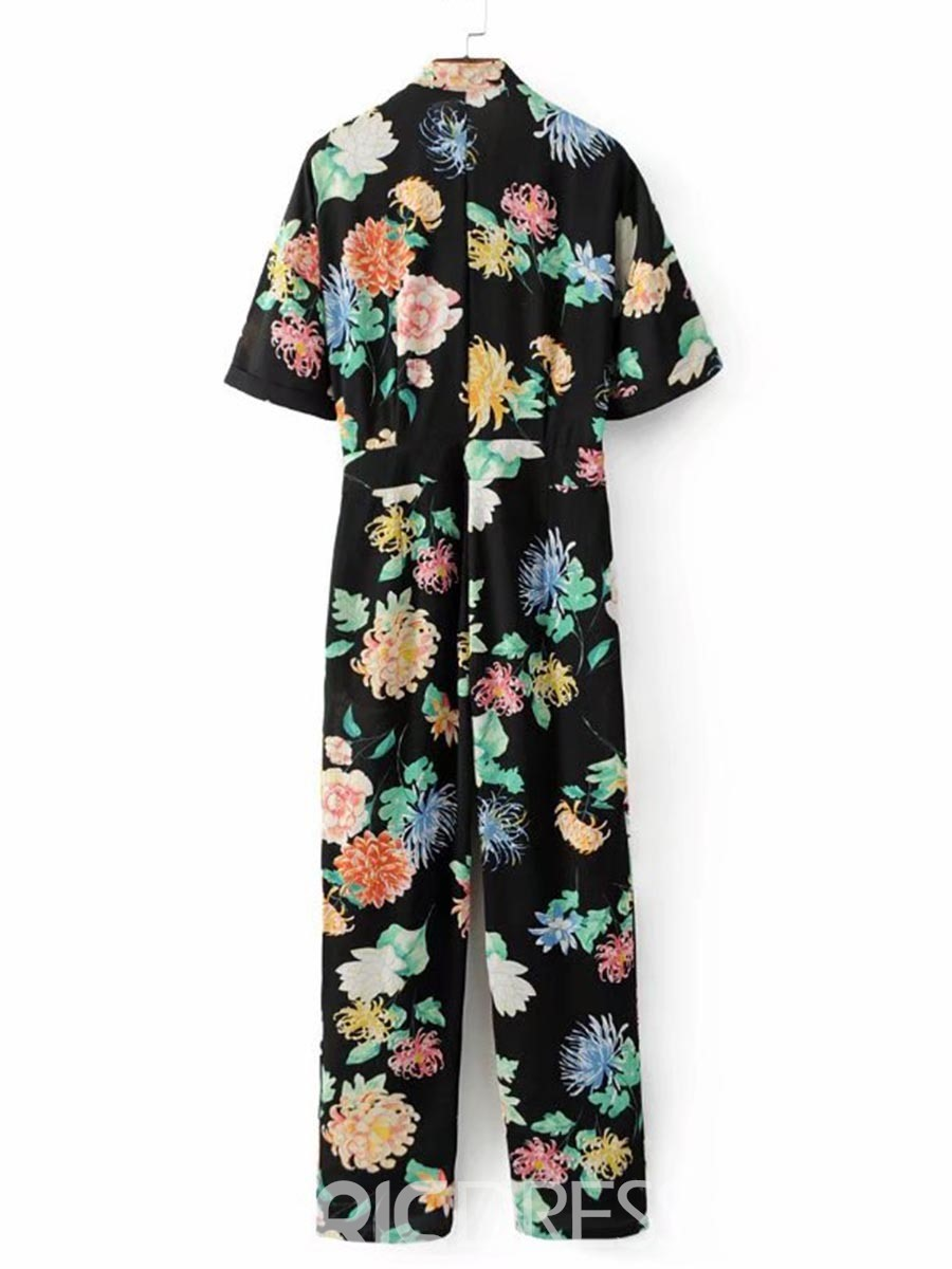 Slim Plant Print Lace-Up Women's Jumpsuit