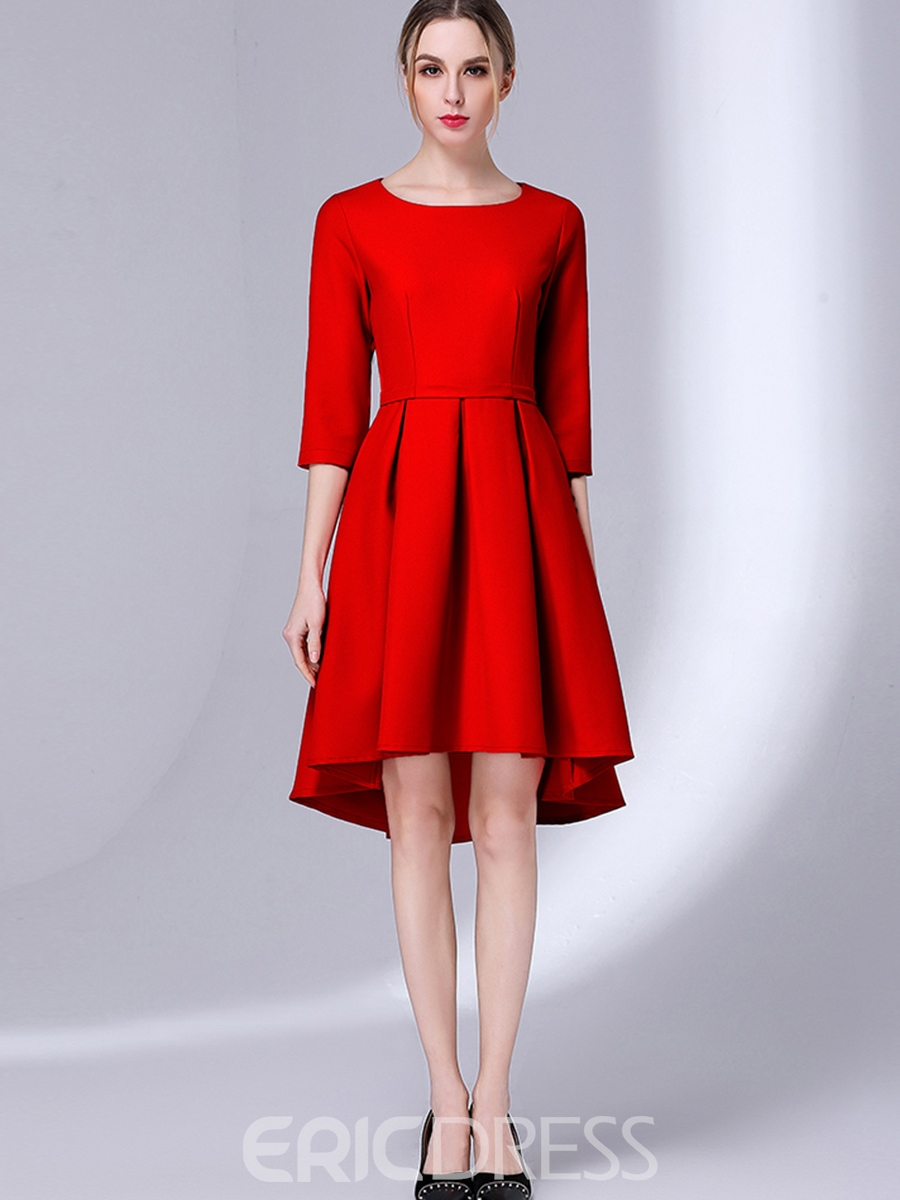 Ericdress Scoop Pain 3/4 Length Sleeves A Line Dress