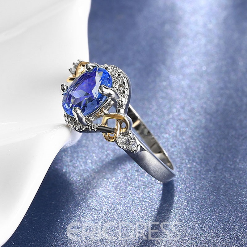 Ericdress New Style Oval Cut Color Stone Wedding Ring