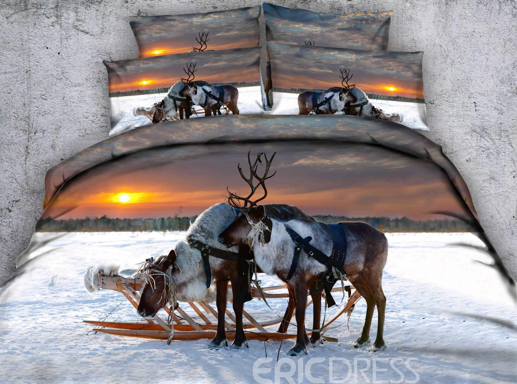 Reindeer in the Winter Sunset Printed Cotton 4-Piece 3D Bedding Sets/Duvet Covers