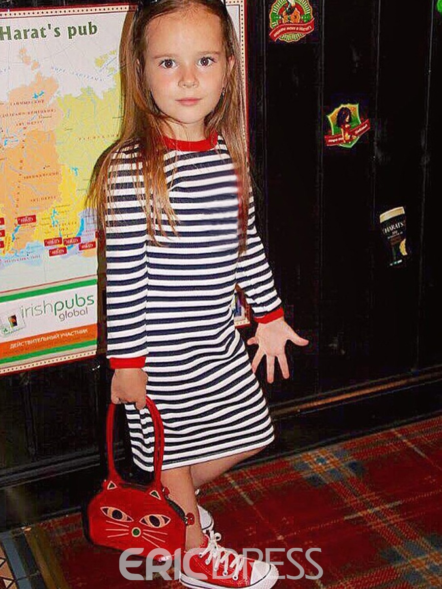 Ericdress Simple Stripe Long Sleeve Round Neck Girls Dress