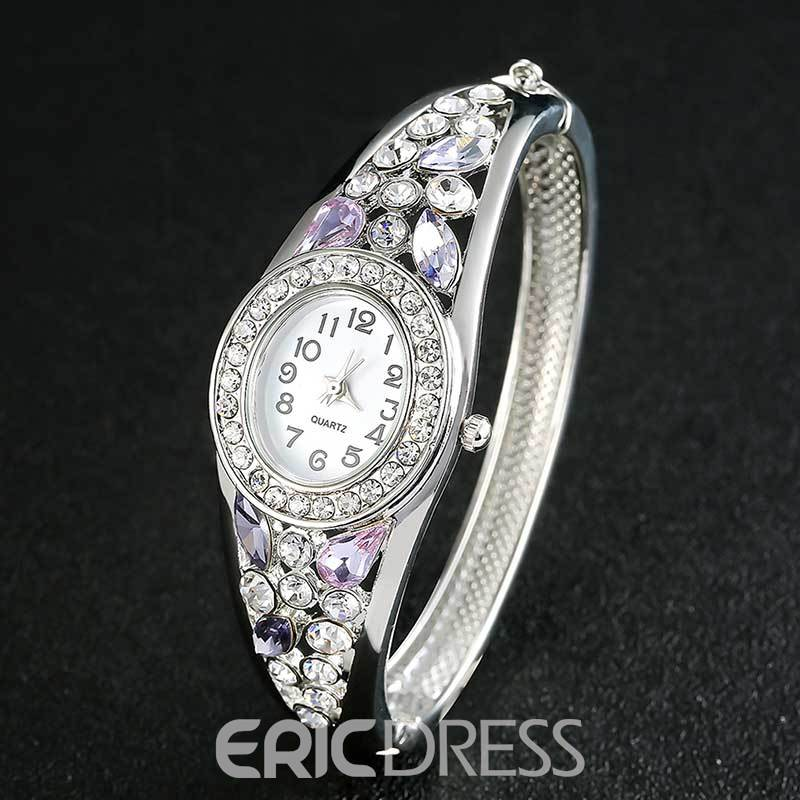 Ericdress Hollow Out Purple Rhinestone Exquisite Watch for Women