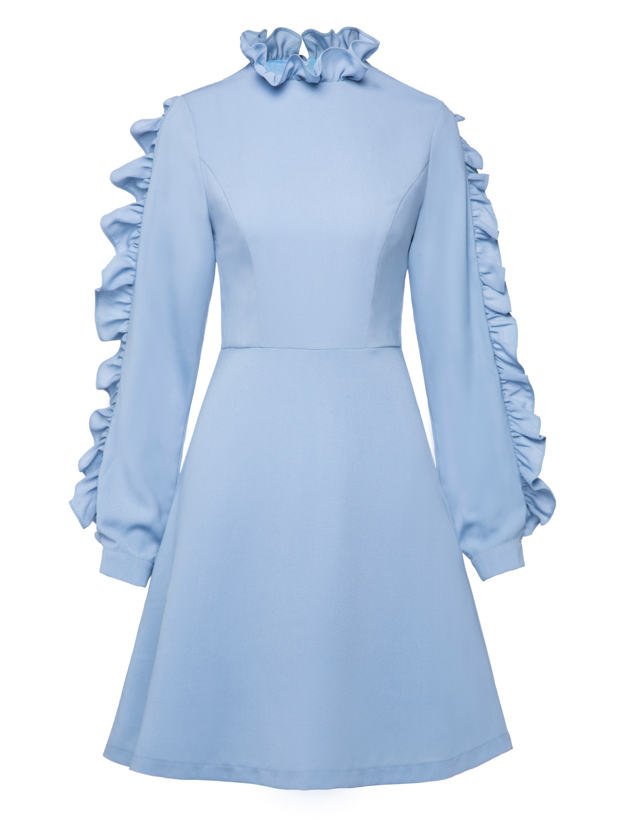 Ericdress Ruffle Colar Long Sleeve Knee-Length A Line Dress