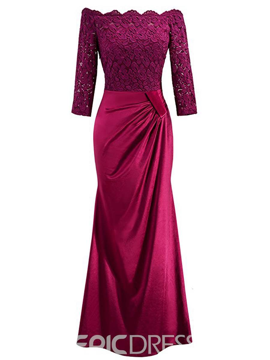 Ericdress Slash Neck bodenlangen Spitzen Maxi-Kleid 12946377 ...