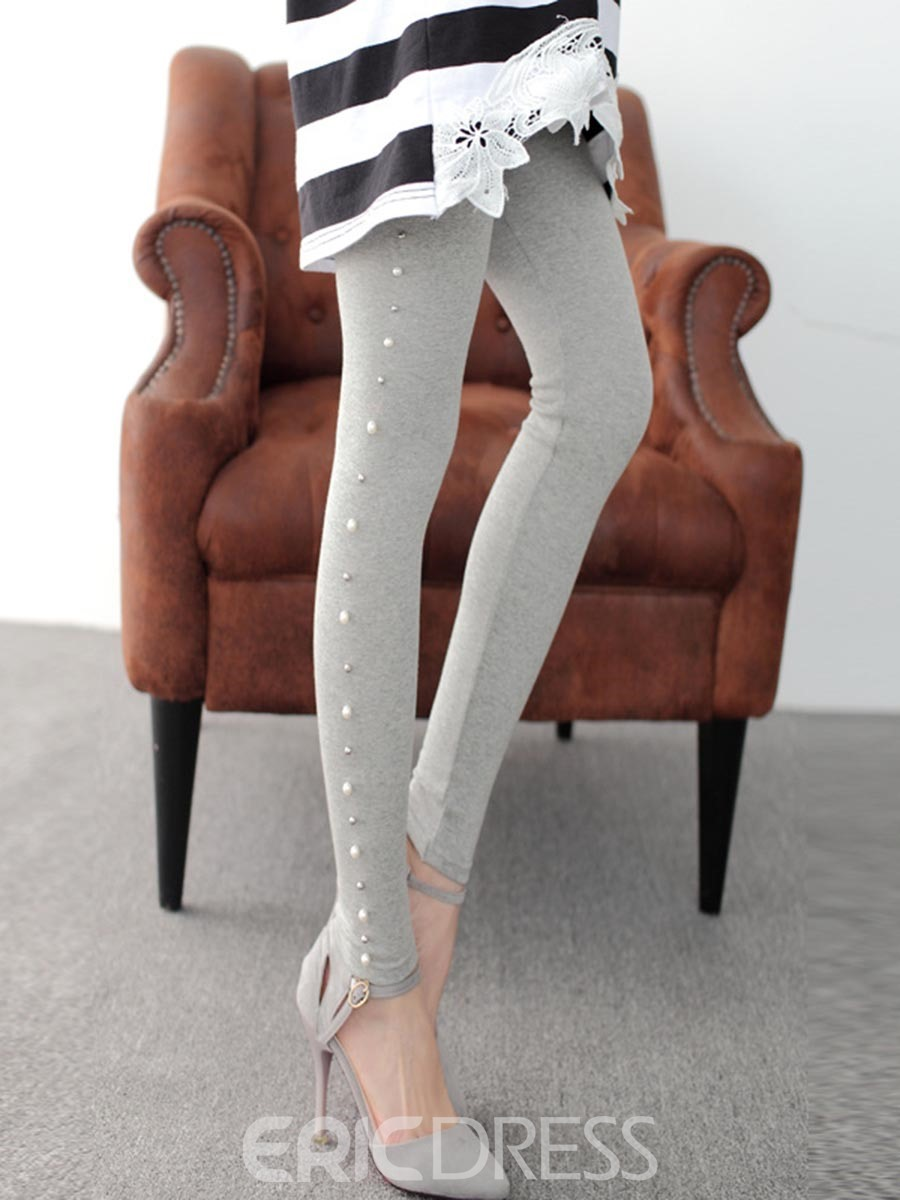 Ericdress Beading Cotton Leggings Pants