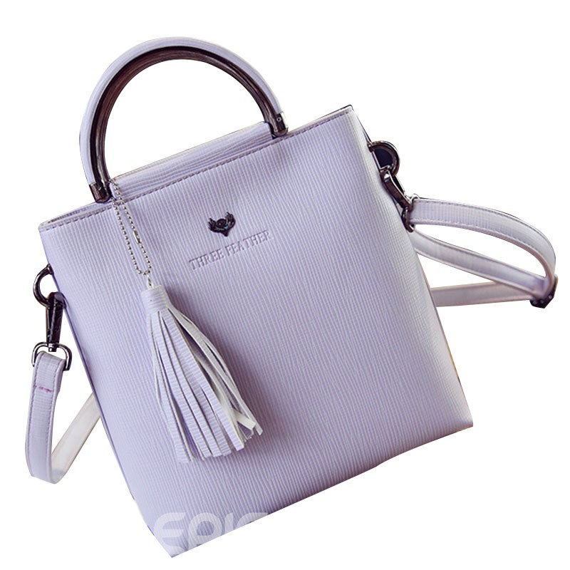 Ericdress Concise Solid Color Tassel Briefcase Handbag