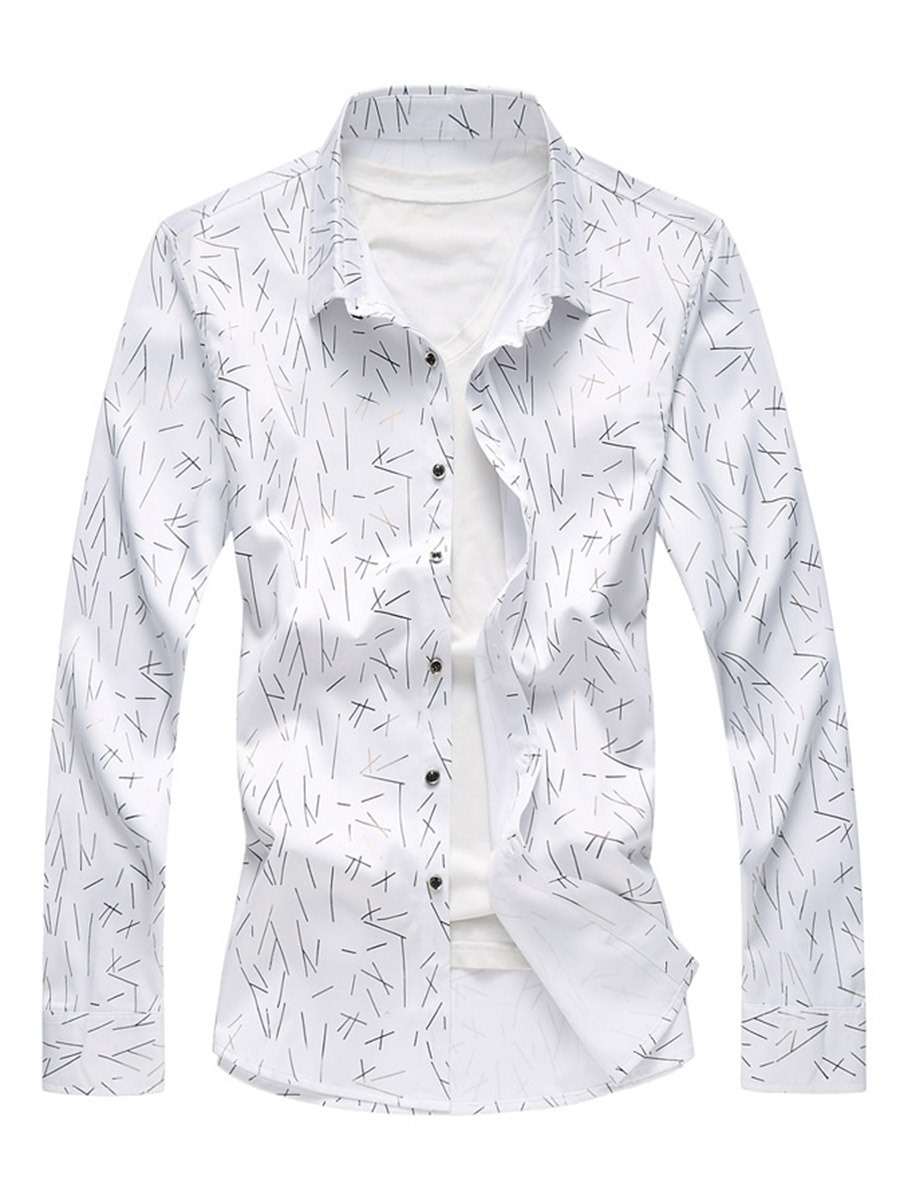 Ericdress Lapel Print Single-Breasted Men's Casual Shirt
