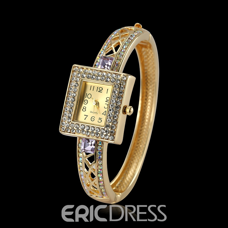 Ericdress Luxurious Diamante Gold Color Women's Square Watch
