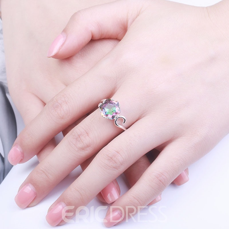 Ericdress Creative Colorful Rhinestone Prong Setting Ring