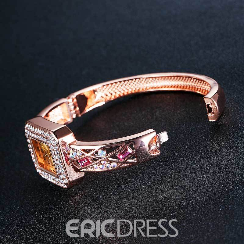 Ericdress Square Case Fully Jewelled Waist Watch