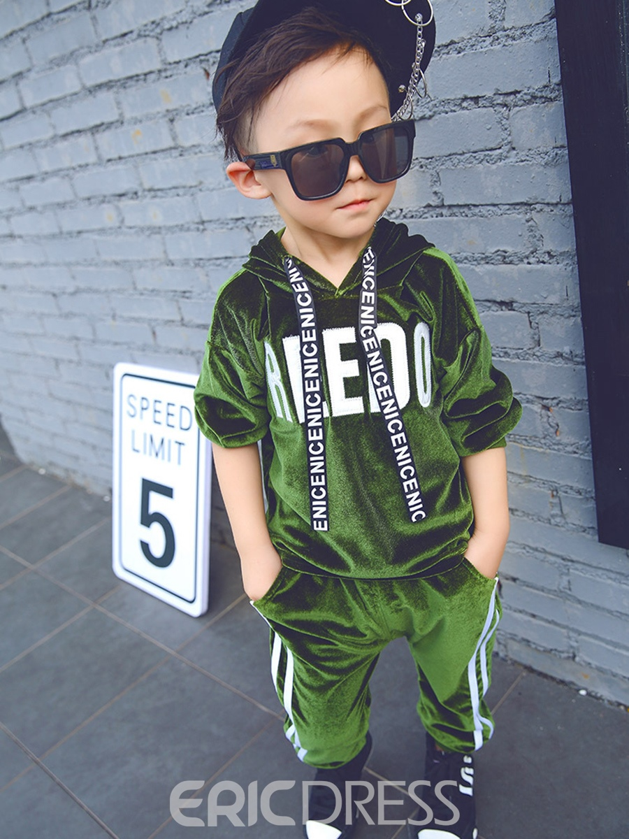Ericdress Fashion Velvet Long Sleeve Hoodie and Pant Baby Boys Outfits