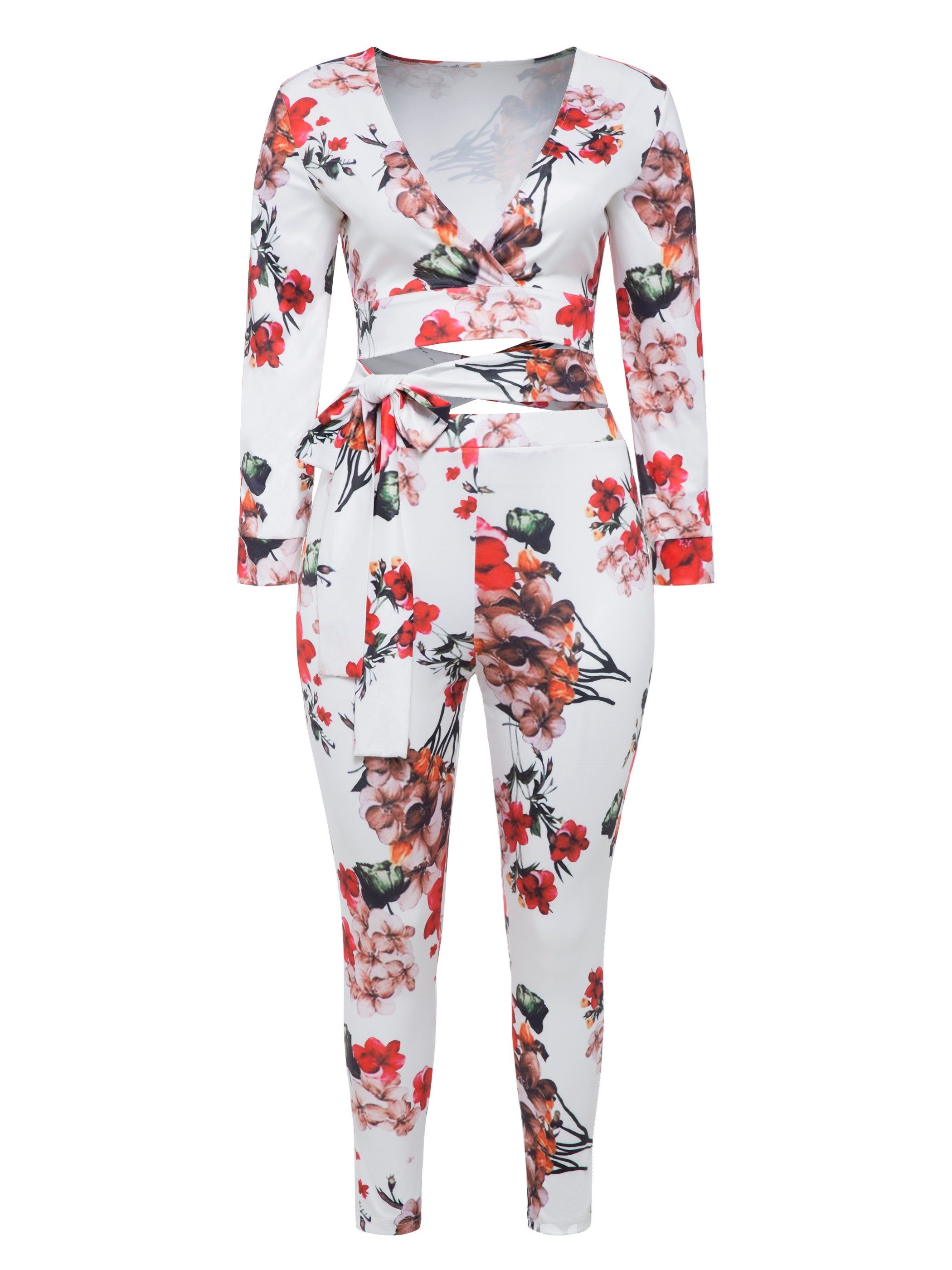 Ericdress Plus Size Lace-Up Print T-Shirt and Pants Women's Two Piece Set