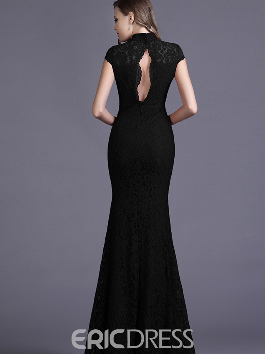 Ericdress Stand Collar Backless Lace Maxi Dress