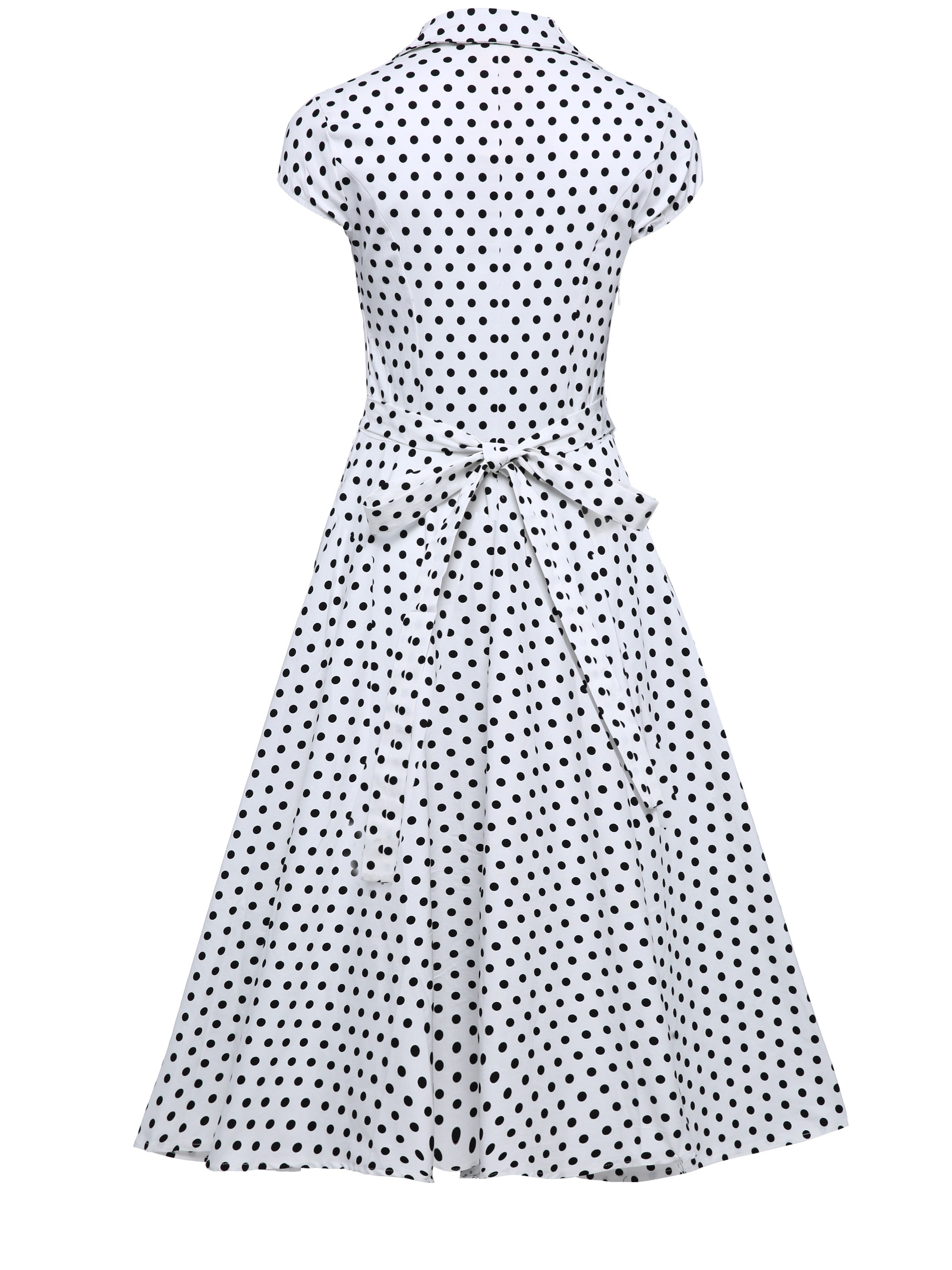 Ericdress Polka Dots Pleated Patchwork Lapel A Line Dress