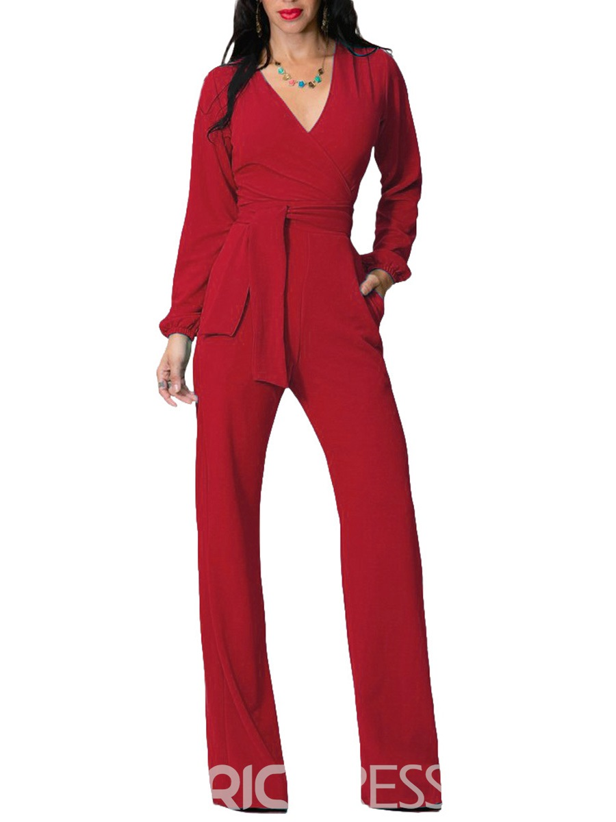 Ericdress Lace-Up Wide Legs Pocket Jumpsuits Pants