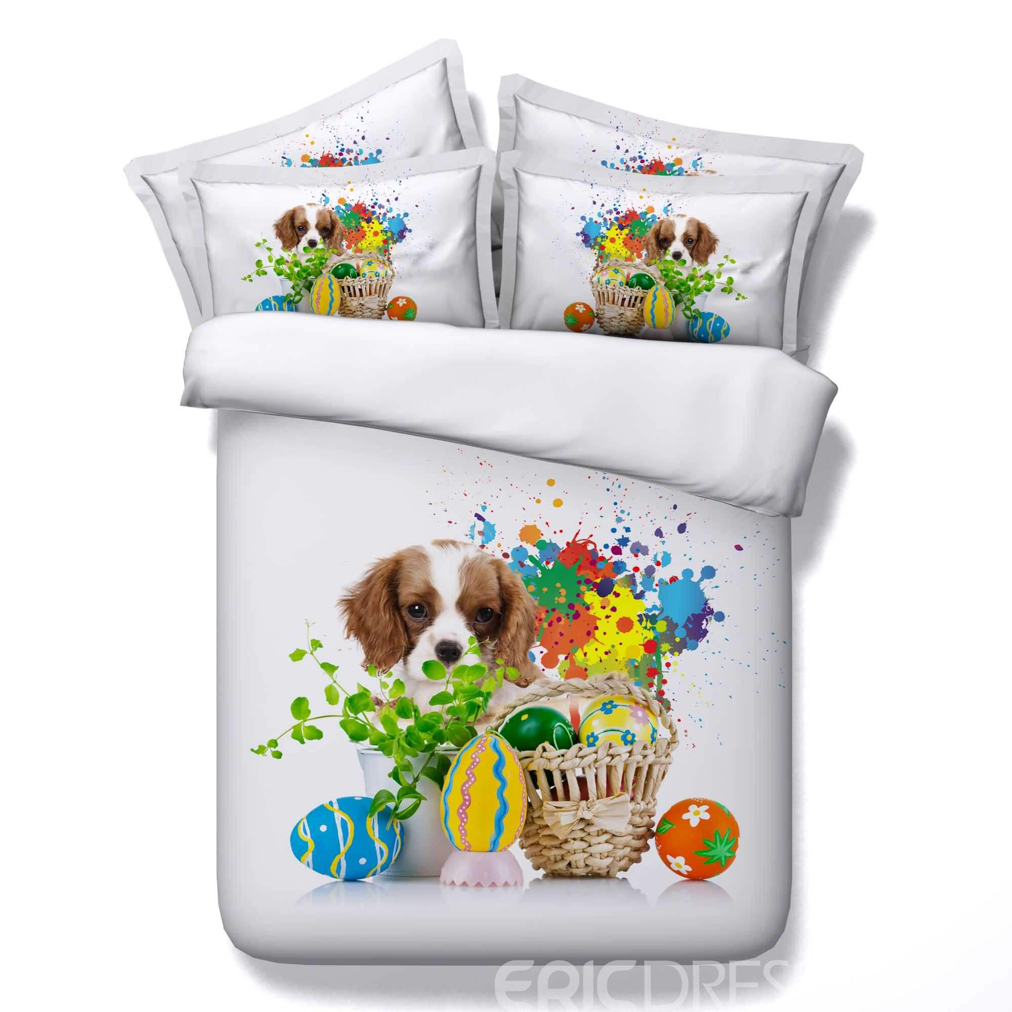 Easter Eggs and Puppy Printed Cotton 4-Piece 3D White Bedding Sets/Duvet Covers